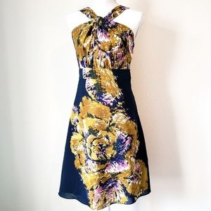 THE LIMITED PURPLE & GOLD LINED DRESS